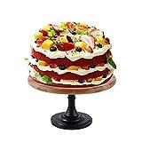 Retro-Stil Runder Holz-Tortenständer,Tortenplatte mit Fuß für Hochzeits-Geburtstags-Party Verziert 10-Zoll-Kuchen