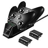 Xbox One Controller Ladestation, 2 x 1200mAh Xbox One Akku-Packs Xbox Ladestation, Sicher Ladegerät Xbox akku und Ladestation Zubehörsets für Xbox One/One S/One X Controller mit LED-Anzeige
