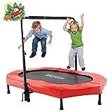 ANCHEER Kindertrampolin, Garten Trampolin für zwei Kinder Indoor / Outdoor zusammenklappbar mit verstellbarem Handlauf Eltern-Kind-Trampolin Fitness Maximale Gewicht Beträgt 100KG. (Rot.)