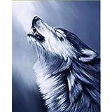 ZHONGYU Wolfskopf Zeichnung Diamantmalerei 5D Bohrer Stickerei Diamant Kreuzstich Handarbeiten Kunsthandwerk Home Decor Runder Diamant (40 × 50CM)
