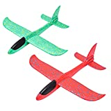 Toy 2 Stück Schaumstoff Flugzeug Manuelles Wurfflugzeug Segelflugzeug Outdoor Fliegen Kinderspielzeug Grün Und Rot 48cm (18,8in)