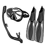 MHSHKS Schwimmtrainingsflossen Flippers Goggle Schnorchelbrille Flippers Set Tauchset Schnorchelbrille Schwimmflossen Tauchschnorchelausrüstung Paket (Color : Black, Size : L-XL)