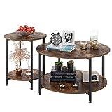 Homfa 2X Beistelltisch Couchtisch Kaffetisch Satztisch rund Vintage Set Groß(80x80x45cm),Klein(48x48x55cm)