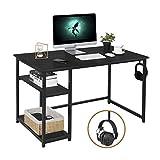 AuAg Schreibtisch Schwarz 120 x 60cm Computertisch mit Regale und Haken Bürotisch Laptop PC Tisch für Studie Arbeitstisch Hölzern Gaming Tisch Officetisch für Home Office Arbeitsplätze für Büro