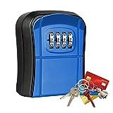 Schlüsseltresor mit 4-stelligem Zahlencode,Wandmontage Mini Schlüsselsafe Aussen,Wasserdicht Rostfrei Schlüsselkasten für Haus, Garagen, Schule Ersatz Haus Schlüssel (Blue)