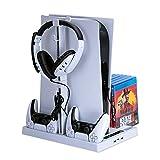 COMY Vertikaler Stander Ladestation für Playstation 5 Digital Edition/Ultra HD, Lüfter mit Dual-Controller-Ladeanschluss PS5-Ladestation Basis Großer Storage Manager Gaming-Headset-Ständer,Weiß