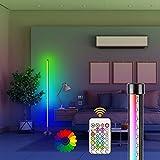 LED Stehlampe RGB Dimmbar mit Fernbedienung, AveyLum Wohnzimmer Lampe, Mehrfarbig Farbwechsel Moderne Stehleuchten, Dimmbare Stehlampe mit Fernbedienung, Umgebungslicht Stehleuchten