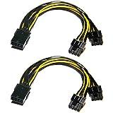 Grafikkarte Kabel,6-Pin-auf-8-Pin-PCIe-Adapter-Stromkabel, 2er-Pack 6-Pin-auf-Dual-PCIe-8-Pin (6+2) Grafikkarten-PCI-Express-Stromadapter GPU VGA Bergbau-Videokarten-Konverterkab