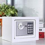 Himimi Tresor Klein Elektronischer Safe Schlüsseltresor Minisafe Wandtresor Minitresor Stahlsafe Möbeltresor Wandsafe Weiß 23 x 17 x 17 cm