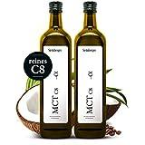 MCT C8 Öl von Steinberger 2x500ml   vegane und natürliche Caprylsäure   99% reines C8   Glasflasche mit Dosierer