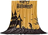 Werfen Decke Halloween Schwarzes Schloss Zombie, Toter Baum Flanell Fleece Bettdecke, Leichte Decke für Frauen Erwachsene Mädchen, Baby - Mikrofaser-Nap-Decke für Sofa, Bett, Sofa-Happy H,40'x50'