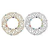 Blumenkorb Spielzeug Eine magische, Magic Flow Ringe Spirale Edelstahl Ringe, Kinetic Magic Flow Ringe 3D-Flow-Ring, Erweiterbar Ring Spielzeug (金色)
