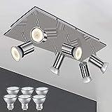 Modern Deckenlampe 6 Flammig LED Deckenleuchte Schwenkbar Deckenstrahler Edelstahl Wohnzimmer Spots Lampe 230V, Inkl 6x 5W GU10 Leuchtmittel Warmweiß