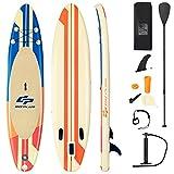 COSTWAY 320/335 x 76 x 15cm Stand Up Paddling Board, SUP Board aufblasbar, Paddelboard mit Sicherheitsleine, Paddel, Pumpe, Center Finne, Rucksack und Reparaturset (Gelb + orange, 320x76x15cm)