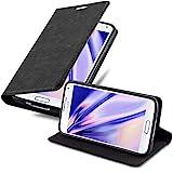 Cadorabo Hülle für Samsung Galaxy S5 Mini / S5 Mini DUOS in Nacht SCHWARZ - Handyhülle mit Magnetverschluss, Standfunktion und Kartenfach - Case Cover Schutzhülle Etui Tasche Book Klapp Style