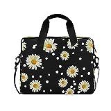 JMbui Laptoptasche mit Schultergurt, für Damen und Herren, 15,6 Zoll (39,6 cm), Gänseblümchen, Blumenmuster, gepunktet