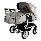 Adbor Duo Spezial Zwillingskinderwagen mit Babyschalen, Zwillingswagen, Zwillingsbuggy Farbe D-2 beige/braun