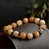 KEEBON Feng Shui Lotus Armband Xinjiang Imperial Jade Talisman Heilung Chakra Edelstein Yoga Meditaion Zen Ornament Crystal Amulet Anziehen Geld Anziehen Glück Glückliches Frieden Vermögen, 12mm