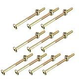 YeVhear M6 x 90 mm Möbelschrauben mit Innensechskant 56,7 mm Gewindelänge mit Zylindermuttern für Betten und Stühle, 10 S