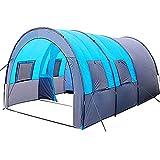 AMAZOM Leichtes Campingzelt, Tragbares Outdoor-Tunnelzelt, Winddicht Und Atmungsaktiv, Leichtes, Kollektives Zelt, Mit 2 Schlafhütten, Geeignet Für Outdoor-Feldpartys