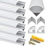 Chesbung LED Aluminium Profil 1m, 6er Pack in V-Form für LED-Strips/Band bis 12 mm) inkl. Abdeckungen in milchig-weiß, Endkappen, und Montagematerial