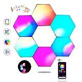 Sechseck Wandleuchte, Smart LED Licht Wandpanel APP Steuerung Musik Sync, 16 Millionen Farben Modulares Licht RGB Nachtlicht DIY Geometrie Spleißen Quantum Leuchte für Zuhause Bar Wand Dekor, 6 Stück