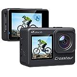 Crosstour Action-Kamera 4K WiFi Ultra HD Dual Screens 24MP EIS Fernbedienung Touchscreen wasserdichte Kamera mit LDC 4X Zoom Zwei wiederaufladbare Batterien und verbessertes Zubehör-Kits CT9300