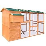 Holz Hühnerstall mit Einem Nistkasten, Kleintierhaus mit 2 Einer rutschfesten Rampe, Pulverbeschichtetes Eisendrahtgitter, Einfacher Zusammenbau, Witterungsbeständig, 295x163x170 cm