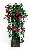 Seidenblumen Roß Rosenranke 62cm Fuchsia ZF Kunstpflanzen Kunstblumen künstliche Pflanzen künstliche Rosen Rosenhänger