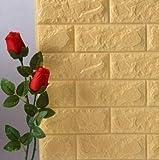 3D Tapete Wandpaneele selbstklebend - Moderne Wandverkleidung in Steinoptik in 7 verschiedenen Farben - schnelle & leichte Montage (5x Stück, Gelb)