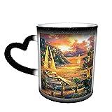 maichengxuan Unisex Reise-Kaffeetasse, schöne Stadt, personalisierbar, wärmeempfindlich, Farbwechsel-Tasse, Milch, Tee, magische Kaffeetassen