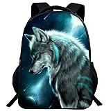 Tier Wolf Rucksack 3D Schultasche Junge Kinder Rucksack Hochelastisches Atmungsaktives Rückenkissen (W2,16 Zoll (Grundschule))