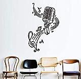 Mikrofon- und Musiknoten für Kinderzimmer mit Vinyl-Wandaufkleber Wanddekoration DIY-Tapetenplakat Wohnaccessoires 58 * 93