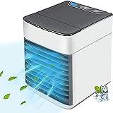 Mobile Klimageräte Mini,Persönliche Klimaanlage,3 In 1 Mobile Klimageräte, Luftbefeuchter, Luftreiniger und Aromazerstäuber, USB Air Cooler mit 3 Kühlstufen, 7 Farben LED