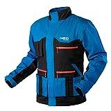 NEO TOOLS Herren HD+ Arbeitsjacke, 100% Baumwolle 275 g/m2, Gr. S-XXL, Stehkragen, regulierbare Manschetten mit Klettverschlüssen, Reißverschluss hinter Einer L