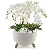 Künstliche Weiße Orchideen XLGesteck Dekotopf Orchidee Dekoblume   TOP Qualität   Handarb