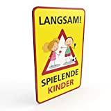 Betriebsausstattung24 Hinweisschild für Spielstraßen/verkehrsberuhigte Straßen | Spielende Kinder | 2mm (20,0 x 30,0 cm, LANGSAM! - spielende Kinder)
