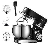 Knetmaschine Küchenmaschine, Spritzschutzdeckel mit , 1000 Watt, 5 Liter, schwenkbarer Multifunktionsarm, 6 Rührstufen