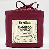 Bambaw Spannbettlaken aus Bambus | Spannbetttuch | atmungsaktiver Stoff| Temperaturregulierender Bettbezug | Burgunderrot |180x200
