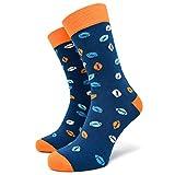 40YARDS American Football Socken mit bunten Footbällen für Fans aller Teams - Unisex für Männer, Frauen & Kinder (blau/orange, 41-46)