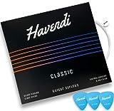 HAVENDI® Gitarrensaiten Konzertgitarre - brillante Klangqualität Saiten aus Nylon für klassische Gitarre mit Silber ummantelt (6 Saiten-Set) inkl. 3 Plektren