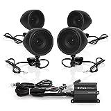 BOSS Audio Systems MCBK470B Wetter Lautsprecher/Verstärker-Sound-System, Bluetooth-Verstärker, Vier Lautsprecher, Inline-Lautstärkeregler, Ideal für Motorräder/ATV und 12 Volt Anwendungen