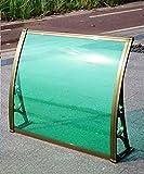 YYLL Vordach Für Haustür Outdoor Gras Grün Tür Fenster Markise 80 cm Terrasse Abdeckung Regenschutz Einteiliges Polycarbonat, Champagnerhalterung, Last 100kg,