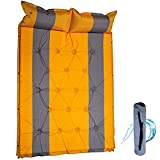 HEPU Selbstaufblasbare Luftmatratze, Isomatte Camping, mit Tragetasche Und 3cm Dicke Camping Isomatte Schlafmatte, FüLlung Schwamm, für Zelten Reise Wandern Strand, 190×132×3cmYellow