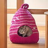 naturling Katzenhöhle aus Filz | Katzenhaus | Katzen-Kuschelhöhle | Katzenbett | Filz aus 100% Schurwolle (Zebra)