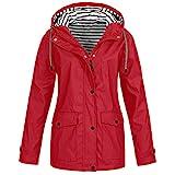 Leeafly 2020 Damen Outdoorjacken Sonnenschutz Wasserdichter, Damen Frühling Herbst Mantel bequem Solide Regenjacke Outdoor Jacken mit Kapuze Regenmantel Parka Coat (M,rot)