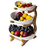 WYFFF Obstkorb Früchtekorb, Creative Arbeitsplatte Keramik Obst Etagere, 3-Stufige Obstschale (Regal Aus Bambus Und Holz * 1, Keramikschale * 3), Tischdekoration Obstkorb, Für Obst,Brot, Snacks,Weiß