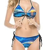 Mädchen Gedruckt Bequem Hawaii Sonnenuntergang Palmen 3 Bikini Bademode Triangel Badeanzug 2 Stück - Hohe Qualität Bikini-Sets Gr. 52, weiß