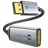 DisplayPort auf HDMI Adapter 4K [Vergoldete, Geflochten, Aluminiumhülse] WARRKY Uni-Directional DP auf HDMI Konverter für Monitor, HDTV, Projektor, Laptop, PC, AMD, NVIDIA