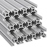 Ulber24- Aluprofil 20x20 Typ B Nut6,12x2m=24m Aluminium- Konstruktion- Montage- System- 2020 Alu Schiene Stecksystem Vierkant Profil B-Typ Nut 6 Eloxiert